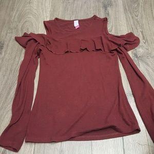 Dresses & Skirts - Maroon cold shoulder shirt